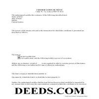Doddridge County Certificate of Trust Form Page 1