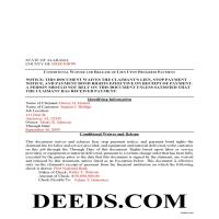 Barbour County Completed Example of the Conditional Lien Waiver on Progress Payment Document Page 1