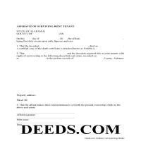 Cherokee County Affidavit of Surviving Joint Tenant Form Page 1