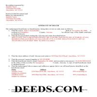 Pinal County Completed Example of the Affidavit of Death Deed Document Page 1