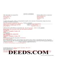 Ouachita County Completed Example of the Quit Claim Deed Document Page 1