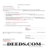Gilpin County Completed Example of the Affidavit of Deceased Joint Tenant Document Page 1