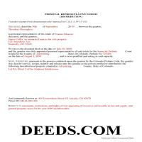 Pueblo County Completed Example of the Personal Representative Deed of Distribution Document Page 1