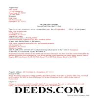 New Haven County Completed Example of the Warranty Deed Document Page 1