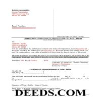 Pinellas County Completed Example of the Notice of Contest of Claim Against Payment Bond Document Page 1