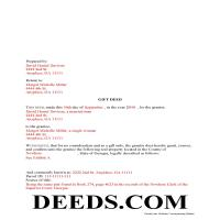 Jeff Davis County Completed Example of the Gift Deed Document Page 1