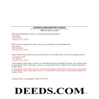 Jeff Davis County Completed Example of the Preliminary Notice of Mechanics Lien Document Page 1