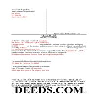 Jeff Davis County Completed Example of the Notice and Claim of Mechanics Lien Document Page 1