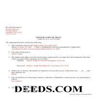 Jeff Davis County Completed Example of the Certificate of Trust Document Page 1