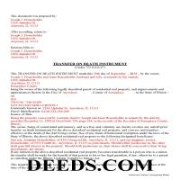 Iroquois County Completed Example of the Transfer on Death Instrument Document Page 1