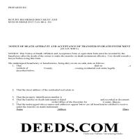 Carroll County Notice of Death Affidavit Form Page 1