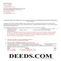 Carroll County Completed Example of the Notice of Death Affidavit Document Page 1