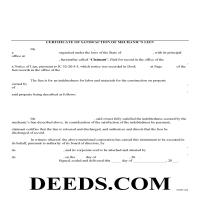Daviess County Satisfaction of Mechanic Lien Form Page 1