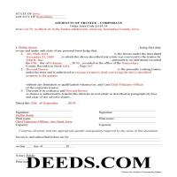 Howard County Completed Example of the Affidavit of Corporate Trustee Document Page 1