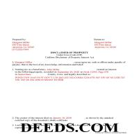 Des Moines County Completed Example of the Disclaimer of Interest Document Page 1