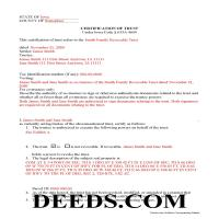 Cerro Gordo County Completed Example of the Certificate of Trust Document Page 1