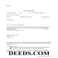 Barren County Executor Deed Form Page 1