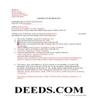 Ohio County Completed Example of the Affidavit of Descent Document Page 1