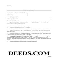 Spencer County Notice to Owner Form Page 1
