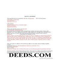 Franklin Parish Completed Example of the Quit Claim Deed Document Page 1