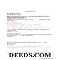 Vernon Parish Completed Example of the Warranty Deed Document Page 1