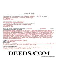 Kalkaska County Completed Example of the Warranty Deed Document Page 1