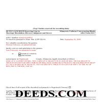 Kandiyohi County Completed Example of the Quit Claim Deed Document Page 1