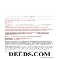 Daviess County Completed Example of the Beneficiary Deed Document Page 1