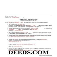 Clinton County Completed Example of the Affadavit as to Death of Grantor Document Page 1