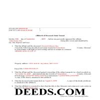 Oregon County Completed Example of the Affidavit of Deceased Joint Tenant Document Page 1