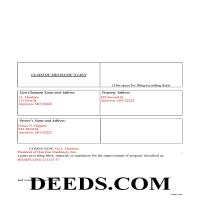 Carter County Completed Example of the Claim of Mechanics Lien Document Page 1