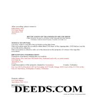 Grant County Completed Example o fthe Transfer on Death Deed Revocation Document Page 1