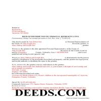 Grant County Completed Example of the Personal Representative Deed of Distribution Document Page 1