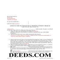 Grant County Completed Example of the Affidavit for Transfer of Real Property without Propbate Document Page 1