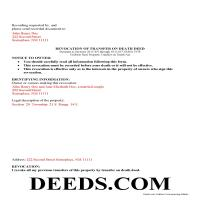 Union County Completed Example o fthe Transfer on Death Deed Revocation Document Page 1