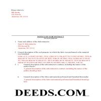 Tyrrell County Completed Example of the Notice of Subcontract Document Page 1