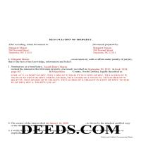 Pasquotank County Completed Example of the Disclaimer of Interest Document Page 1
