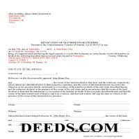 Washita County Completed Example of the Transfer on Death Revocation Document Page 1