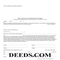 Bryan County Transfer on Death Revocation Form Page 1