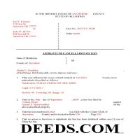 Lincoln County Completed Example of the Affidavit of Cancellation of Lien Document Page 1