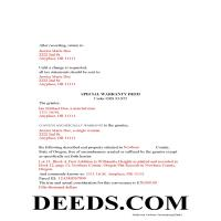 Gilliam County Completed Example of the Special Warranty Deed Document Page 1