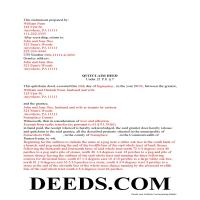 Juniata County Completed Example of the Quit Claim Deed Document Page 1