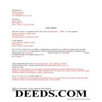 Schuylkill County Completed Example of the Gift Deed Document Page 1