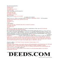 Clearfield County Completed Example of the Warranty Deed Document Page 1
