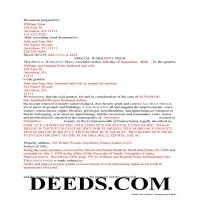 Greene County Completed Example of the Special Warranty Deed Document Page 1