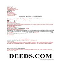 Potter County Completed Example of the Personal Representative Deed Document Page 1
