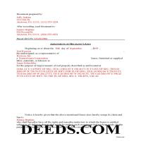 Schuylkill County Completed Example of the Assignment of Lien Document Page 1