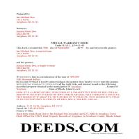 Providence County Completed Example of the Special Warranty Deed Document Page 1