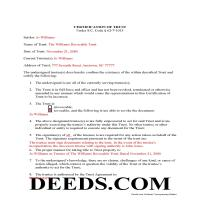 Kershaw County Completed Example of the Certificate of Trust Document Page 1