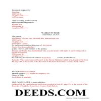 Union County Completed Example of the Warranty Deed Document Page 1